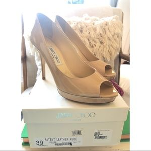 Jimmy Choo Patent Leather Nude Luna 100